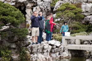 A family visits Lan Su Chinese Garden